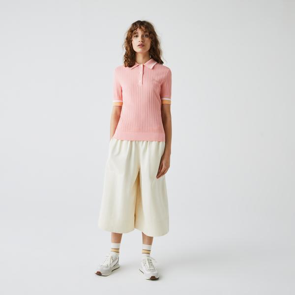 Lacoste Damska dzianinowa koszulka polo Slim Fit z paskami na rękawach