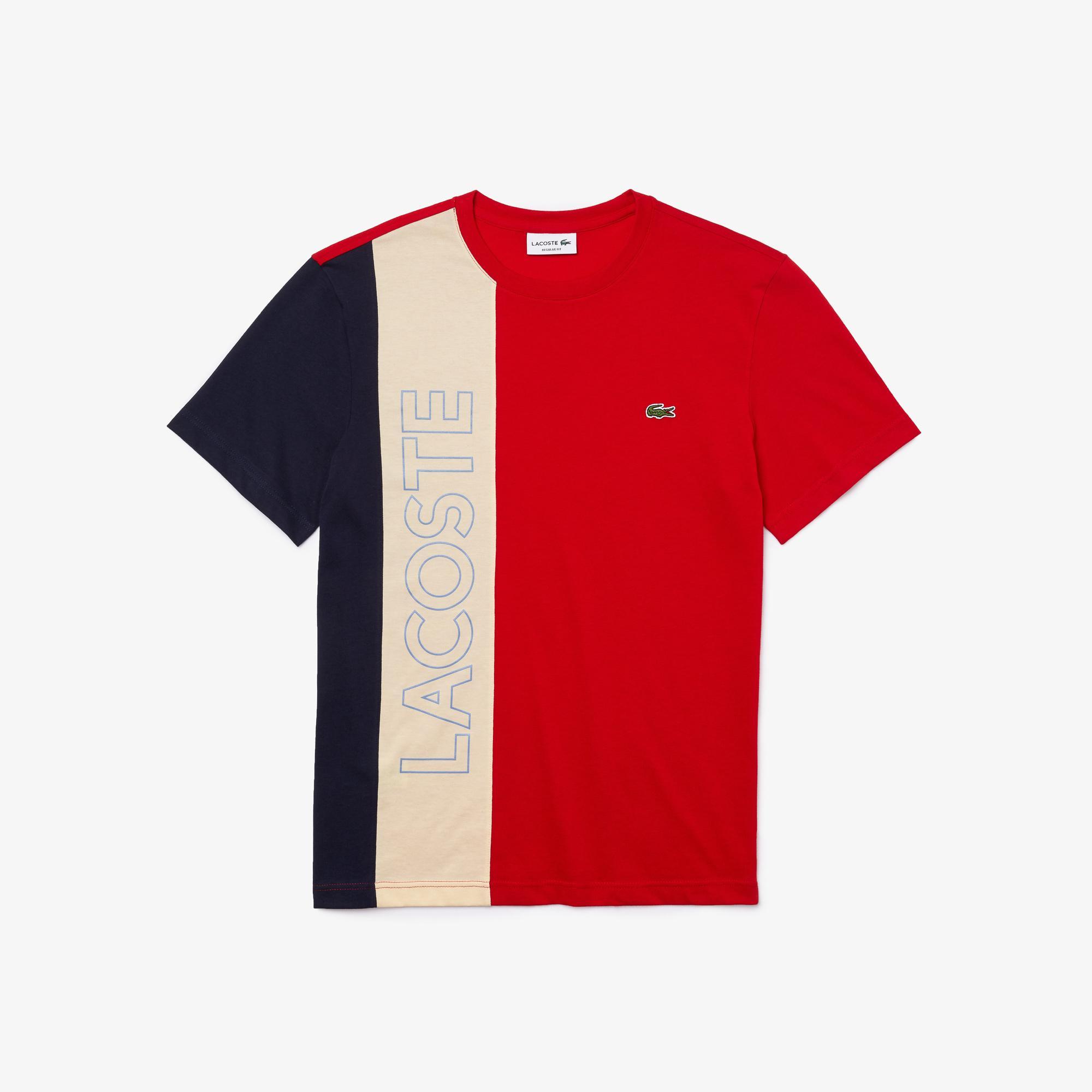 Lacoste Męski T-shirt w bloki kolorystyczne z napisem Lacoste z okrągłym dekoltem
