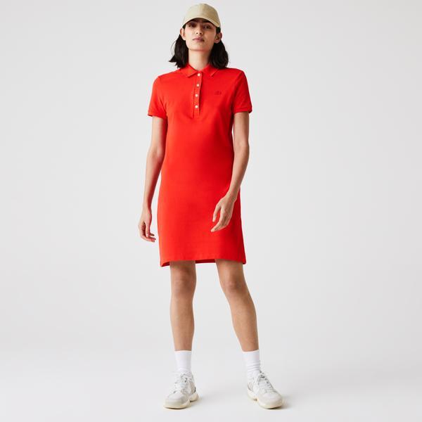 Lacoste Damska sukienka polo z elastycznej piki bawełnianej