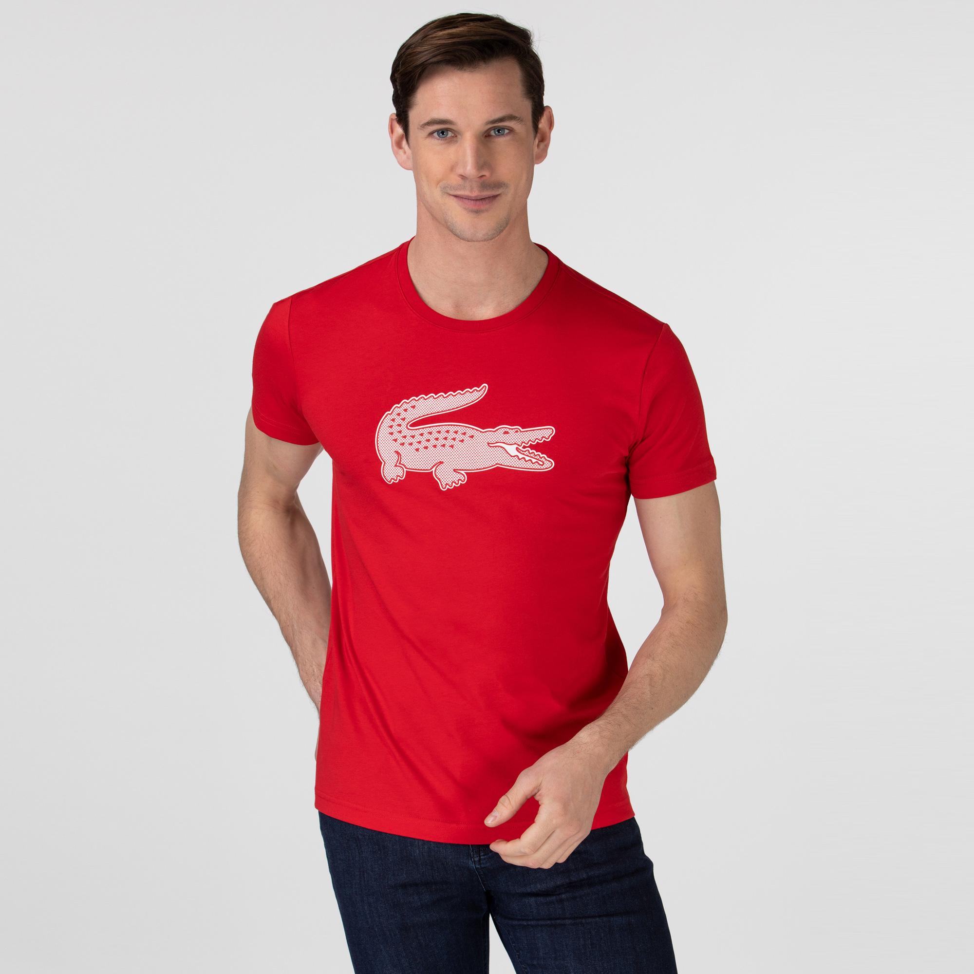 Lacoste Sport Męski T-Shirt Z Oddychającego Dżerseju Z Nadrukiem Krokodyla 3D