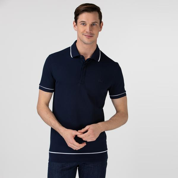 Lacoste Męska elastyczna koszulka polo Regular Fit z lamówką z drobnej piki bawełnianej