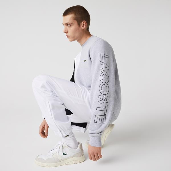 Lacoste Męska polarowa bluza z okrągłym dekoltem w bloki kolorystyczne z napisem