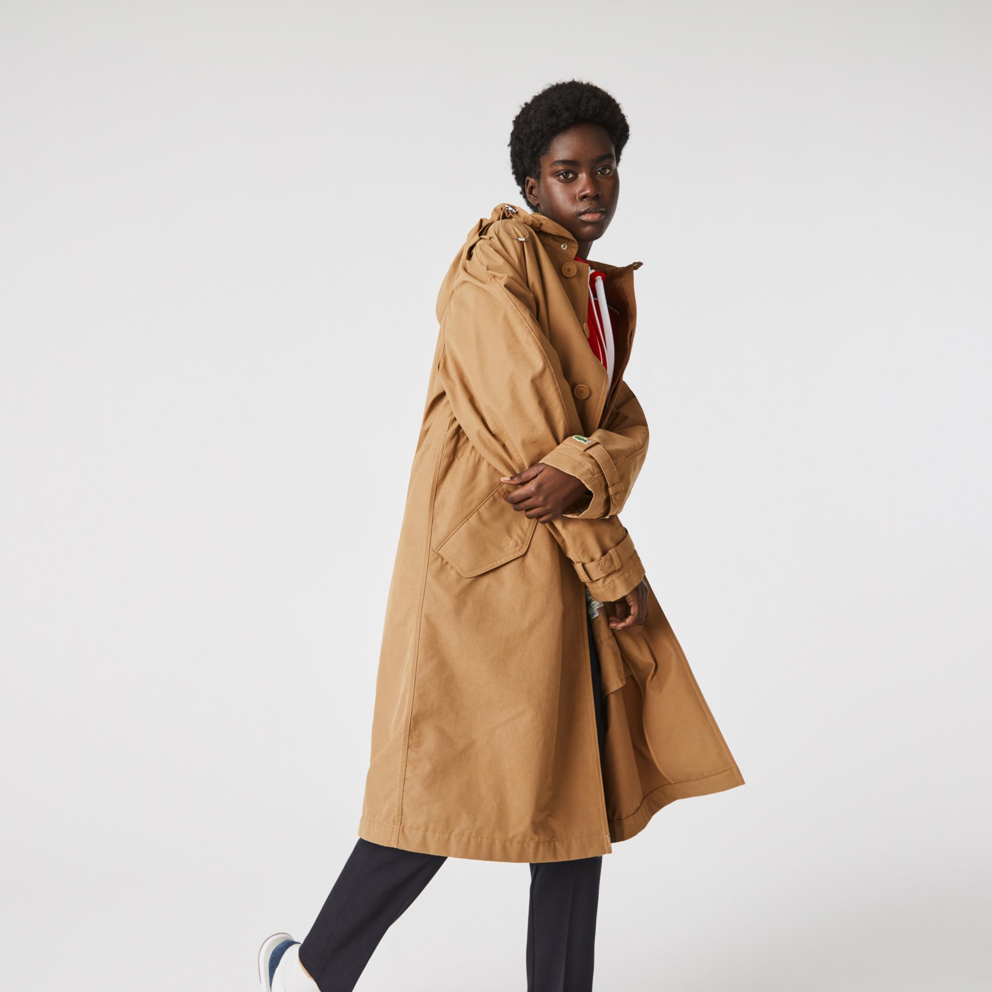 Lacoste Lekki jednolity płaszcz typu trencz z płótna unisex