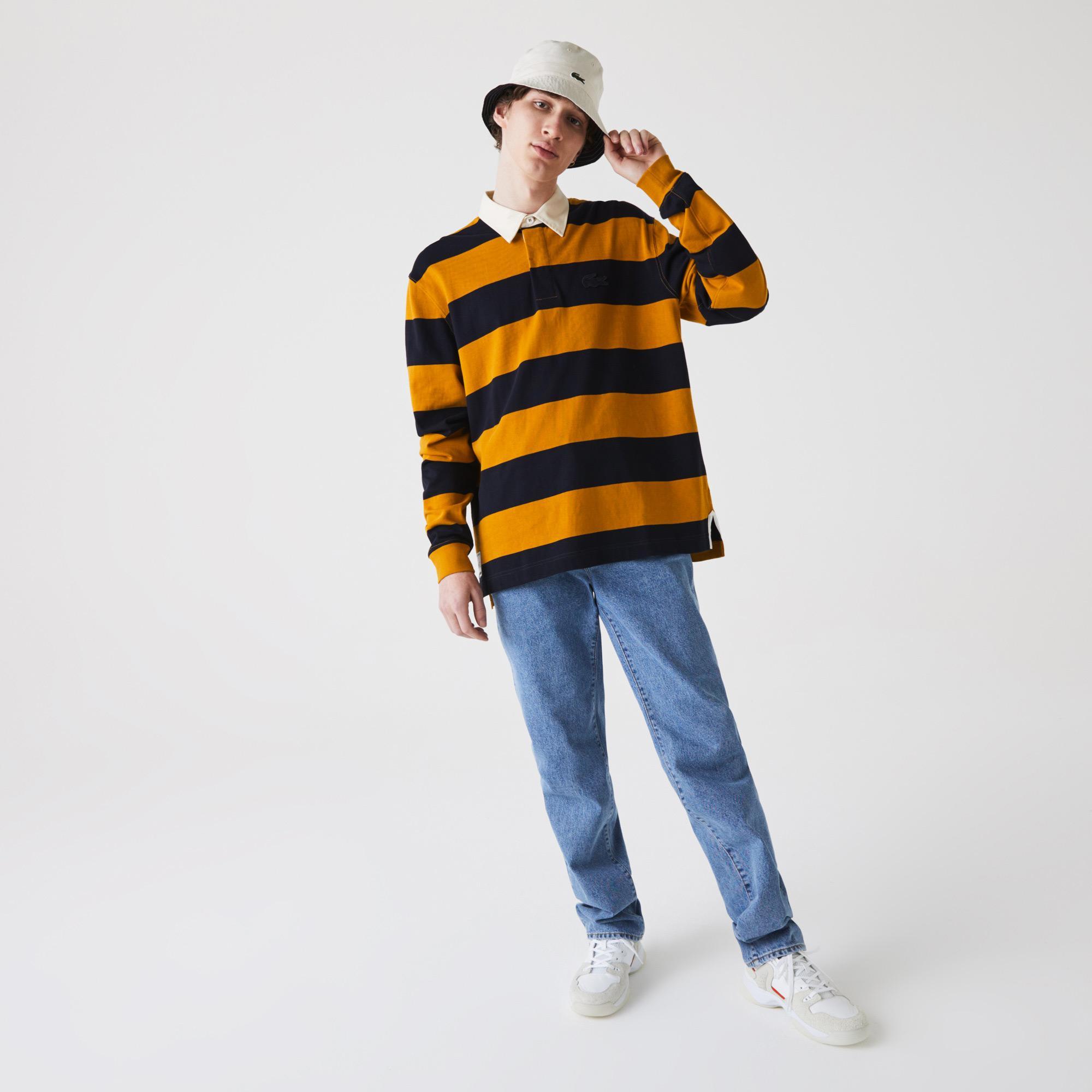 Lacoste Męska bawełniana koszula w stylu rugby w paski