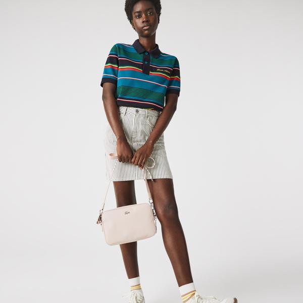 Lacoste Damska prostokątna miejska torebka na ramię obszyta płótnem typu pika o klasycznym kroju z zamkiem błyskawicznym