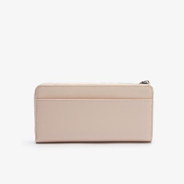 Lacoste Damski klasyczny portfel na co dzień obszyty płótnem typu pika na 10 kart z zamkiem błyskawicznym