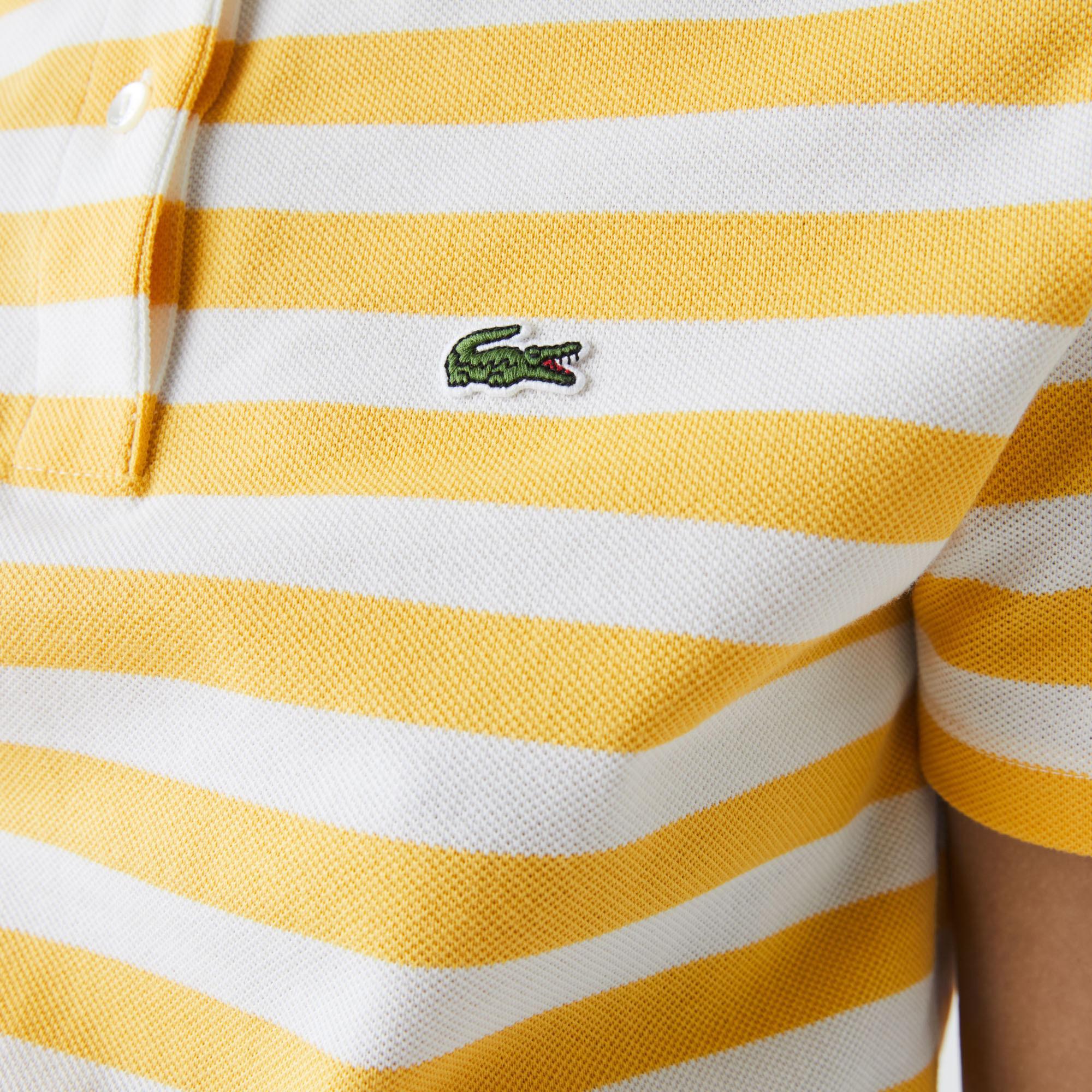 Lacoste Damska bawełniana koszulka polo Regular Fit z kołnierzykiem z siateczki w paski