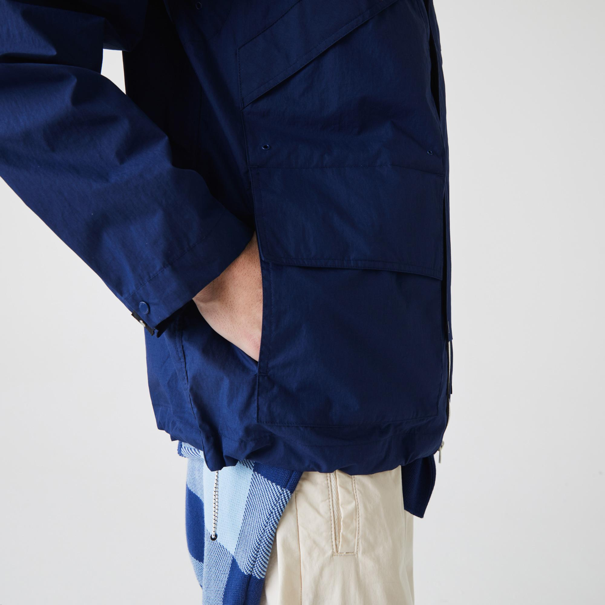 Lacoste Męska ultralekka letnia kurtka na zamek błyskawiczny z kieszeniami
