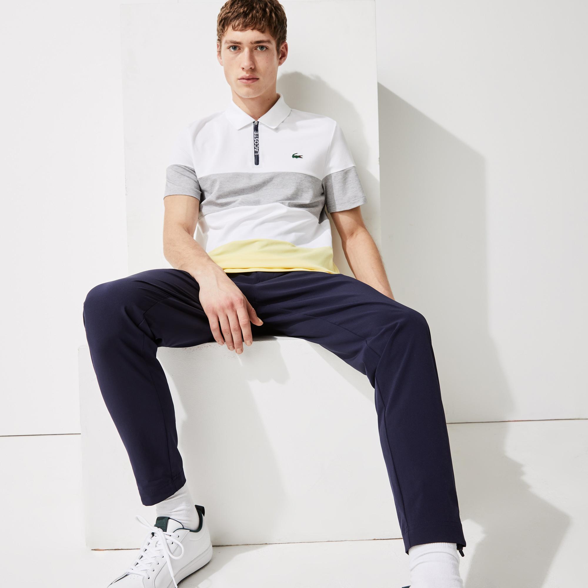 Lacoste SPORT Męska koszulka polo w paski z zamkiem błyskawicznym pod szyją z elastycznej piki do gry w golfa