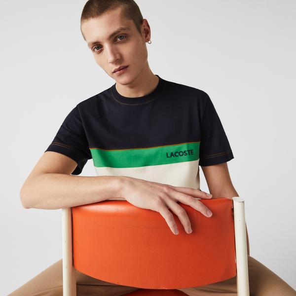Lacoste Męski bawełniany T-shirt z okrągłym dekoltem z napisem i w bloki kolorystyczne