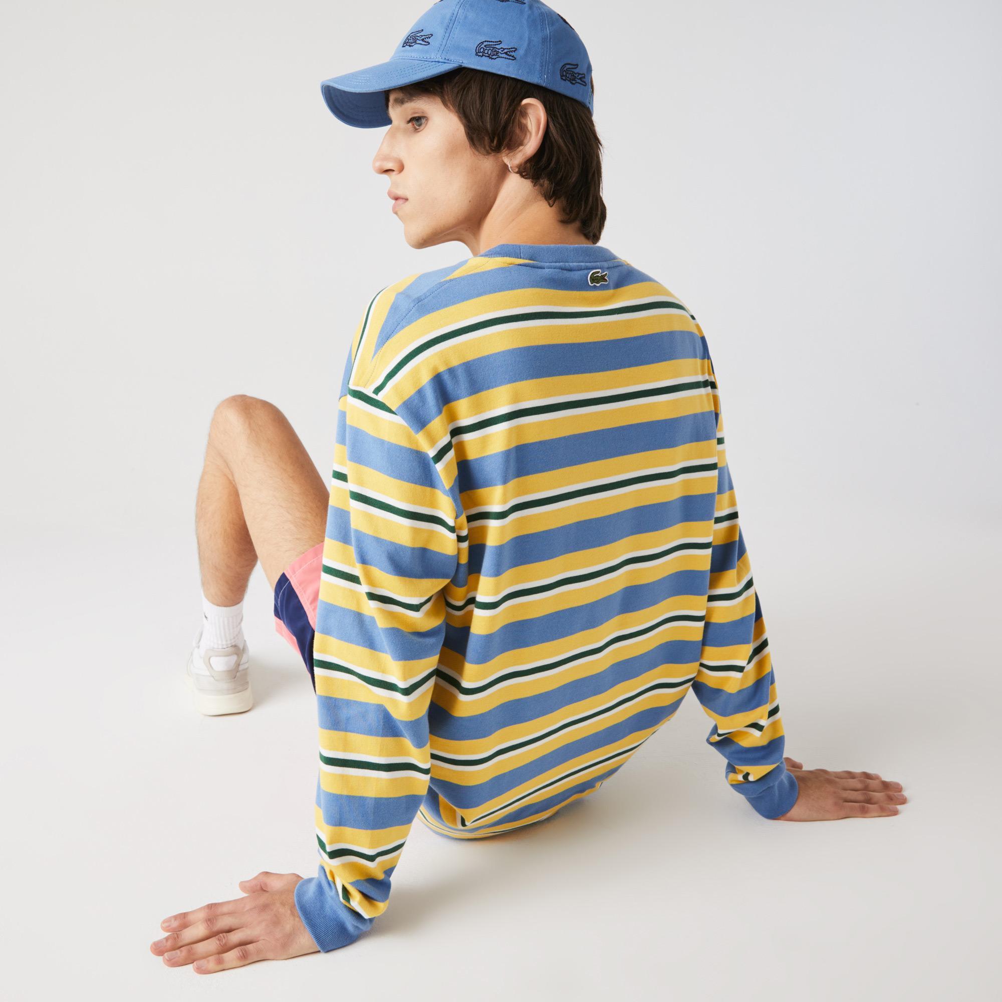 Lacoste Męski tradycyjny bawełniany T-shirt Loose Fit w paski