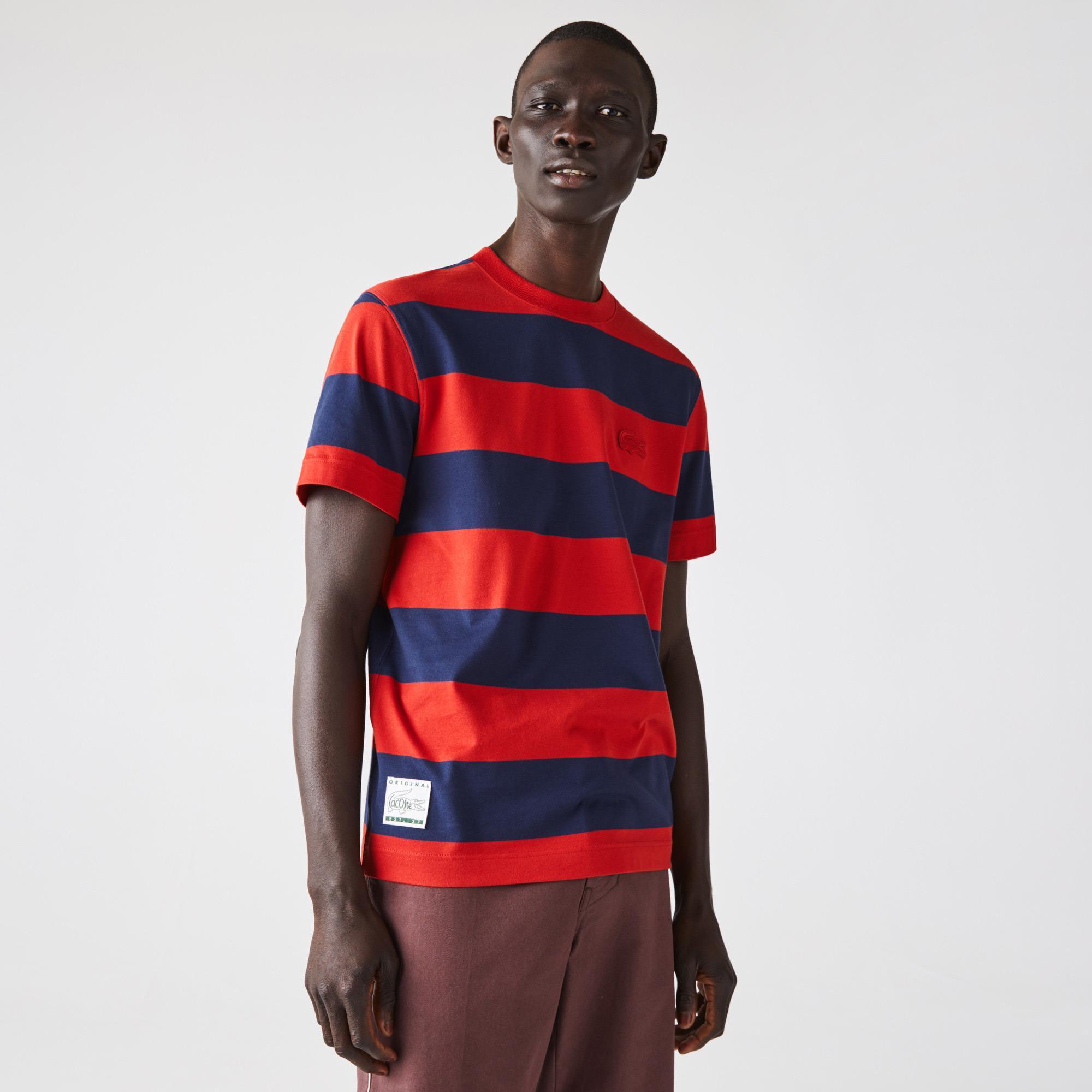 Lacoste Męski bawełniany T-shirt z okrągłym dekoltem w szerokie paski