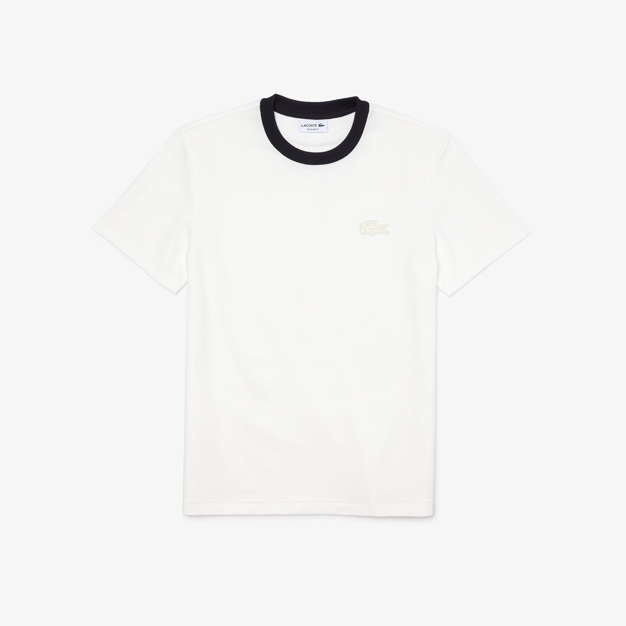 Lacoste Męski T-shirt Loose Fit w kontrastowych kolorach z okrągłym dekoltem z bawełny teksturowanej