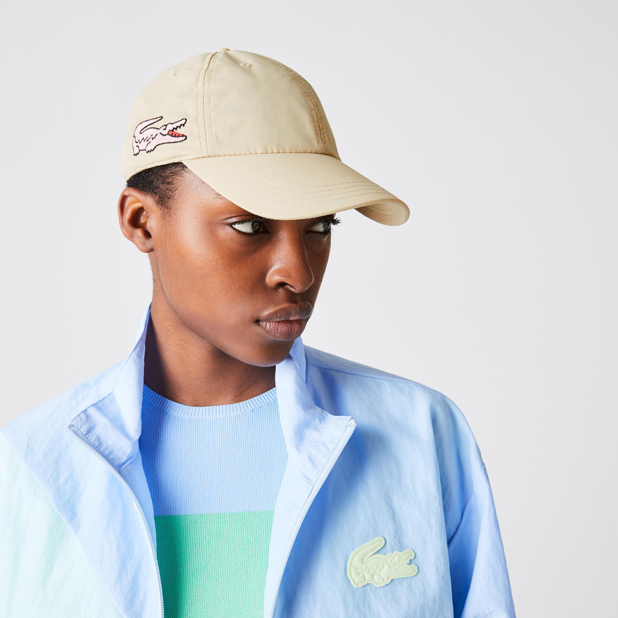 Lacoste Damska lekka czapka nylonowa z dużym haftowanym krokodylem