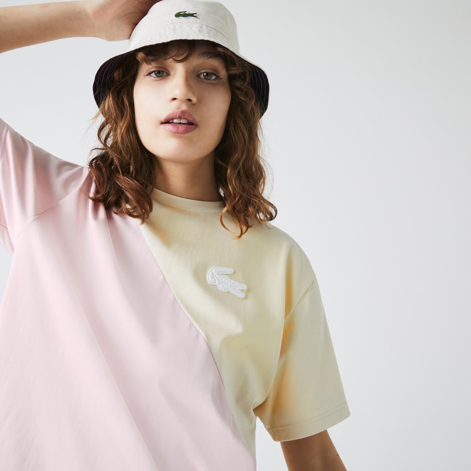 Lacoste L!VE Damski luźny dwukolorowy T-shirt z bawełny