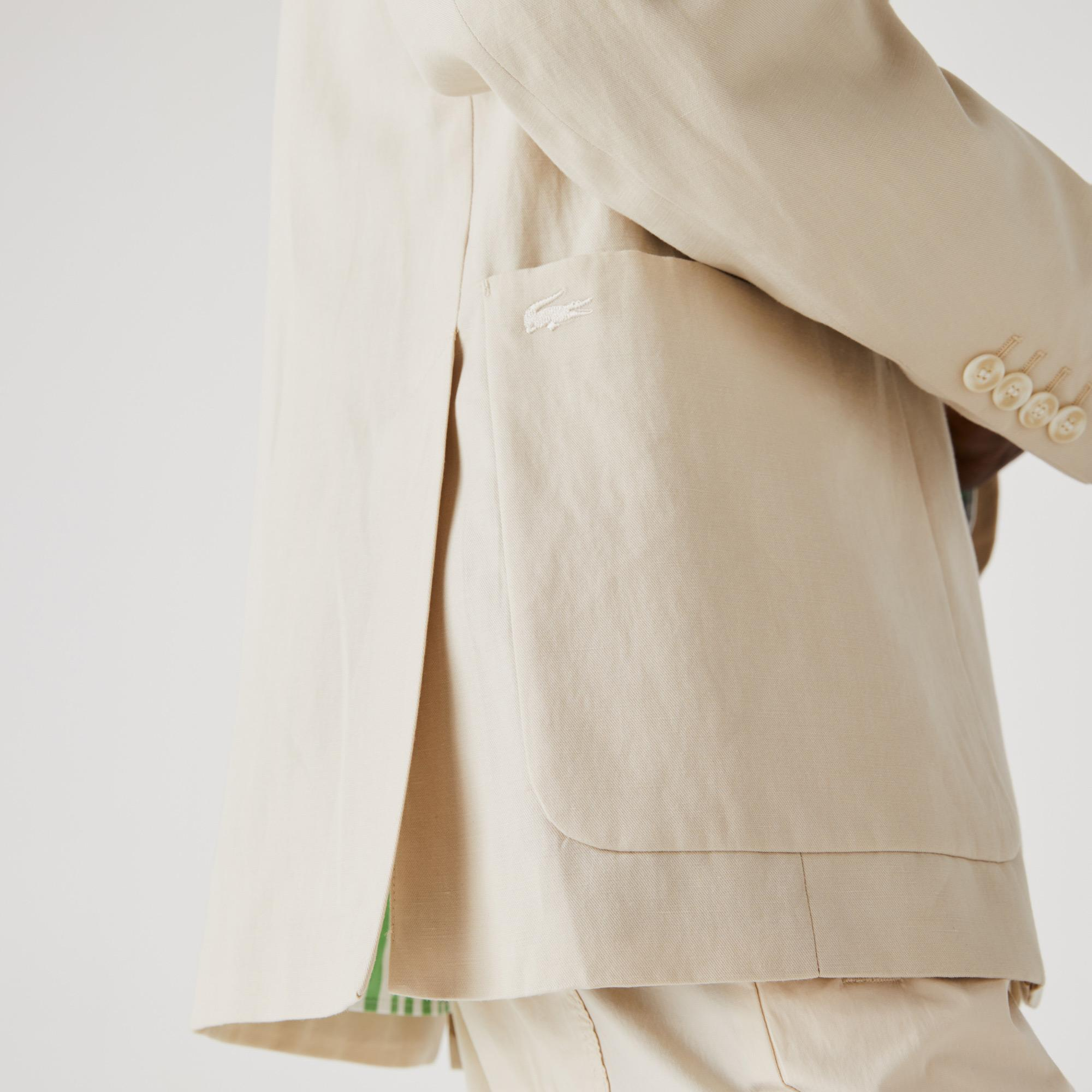 Lacoste Męska marynarka Straight Fit z mieszanki bawełny i lnu