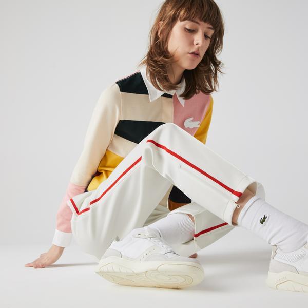 Lacoste Damskie spodnie dresowe o prostym kroju z kontrastowymi gumkami