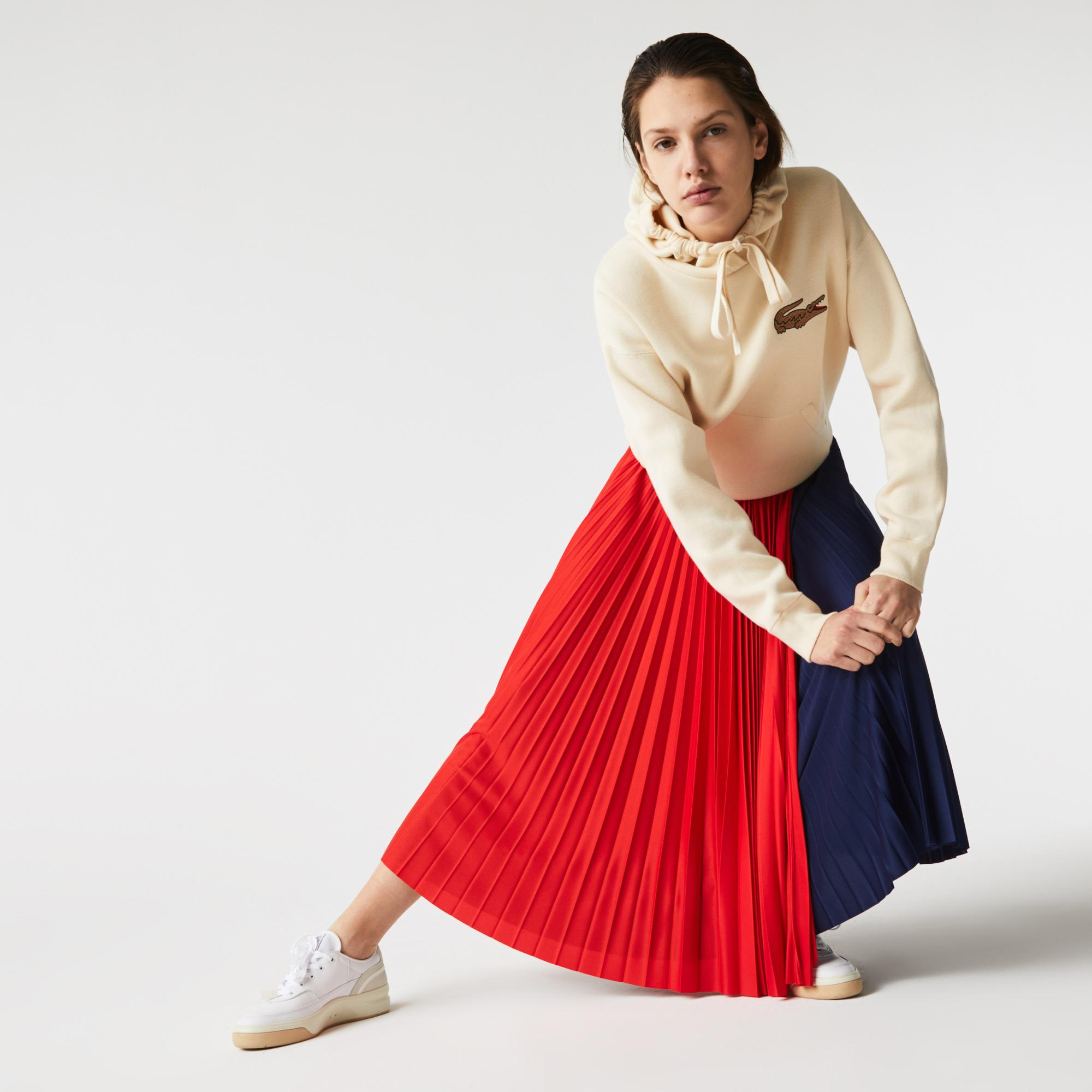 Lacoste Damska plisowana spódnica midi w bloki kolorystyczne
