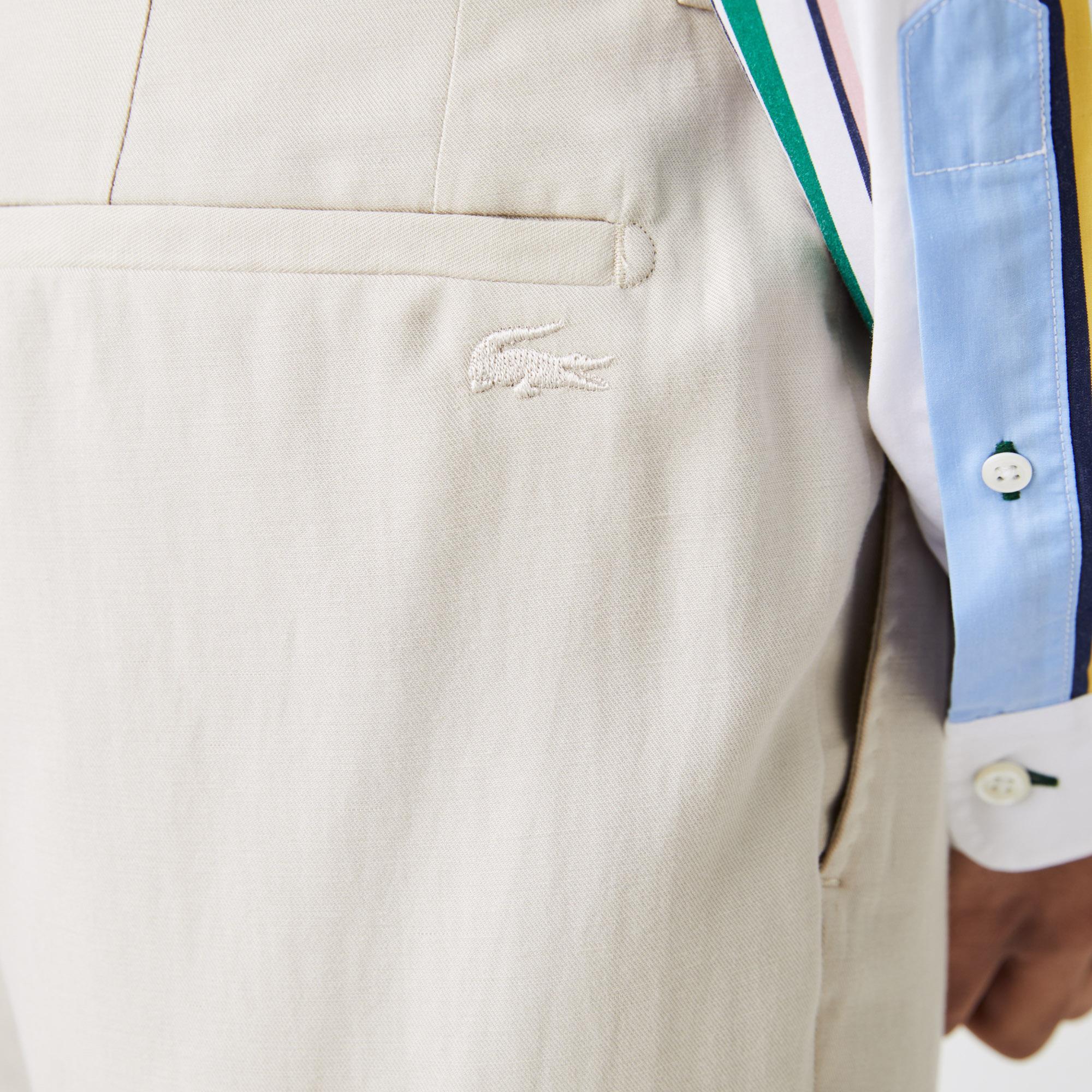 Lacoste Męskie spodnie Slim Fit z mieszanki bawełny i lnu