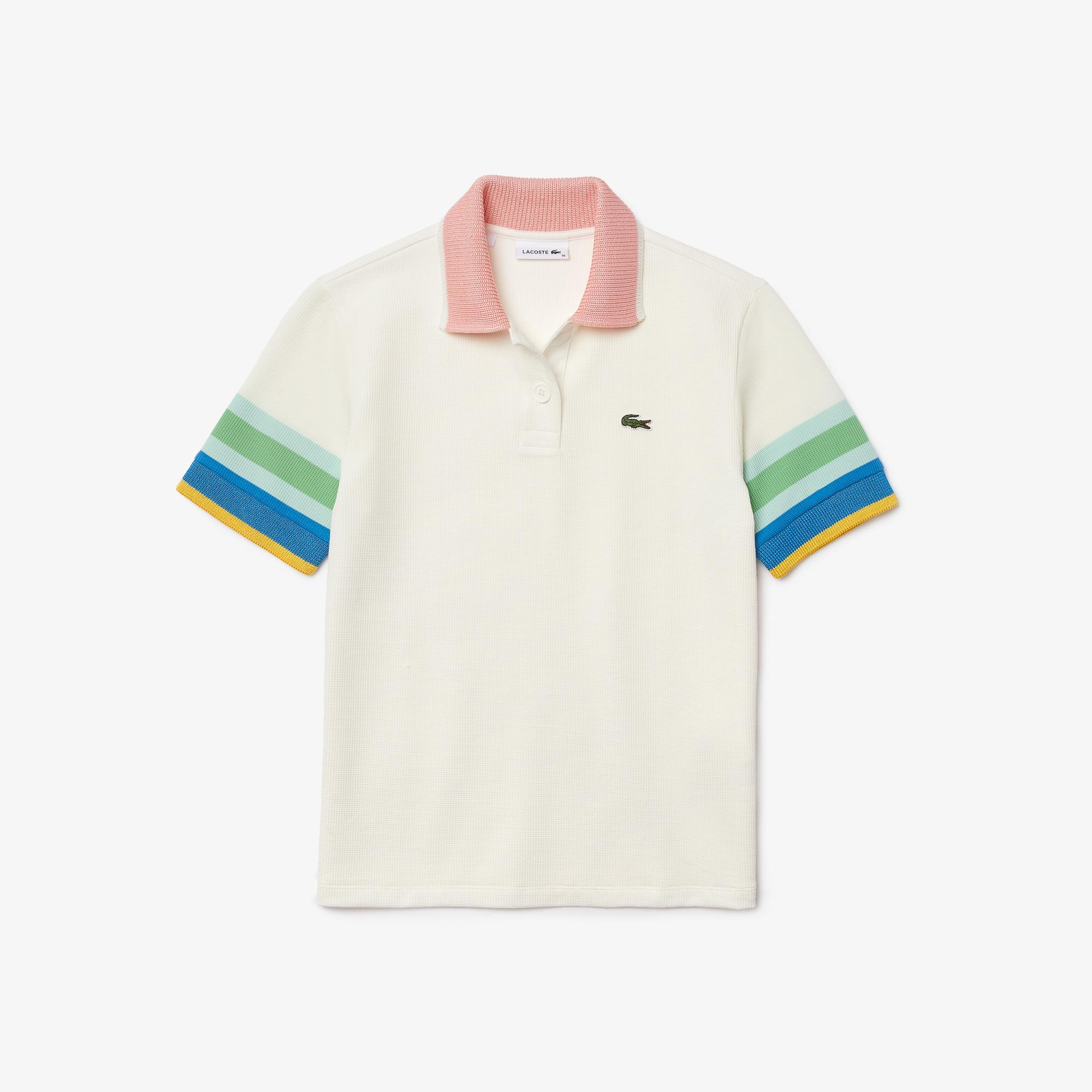 Lacoste Damska koszulka polo z paskami na rękawach z bawełny strukturalnej