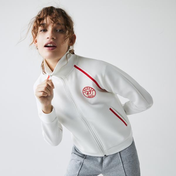 Lacoste Damska bluza ze stójką na zamek błyskawiczny w stylu vintage
