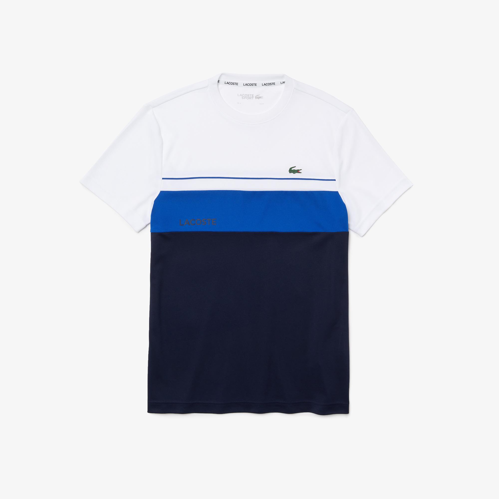 Lacoste SPORT Męski oddychający T-shirt z okrągłym dekoltem w bloki kolorystyczne
