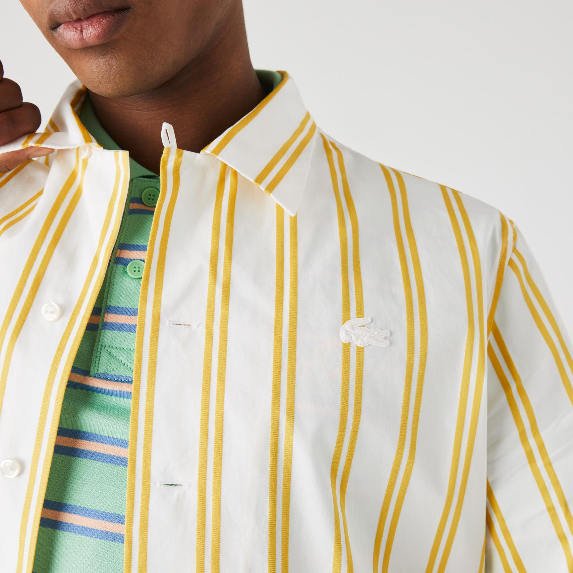 Lacoste L!VE Męska tkana koszula z długim rękawem