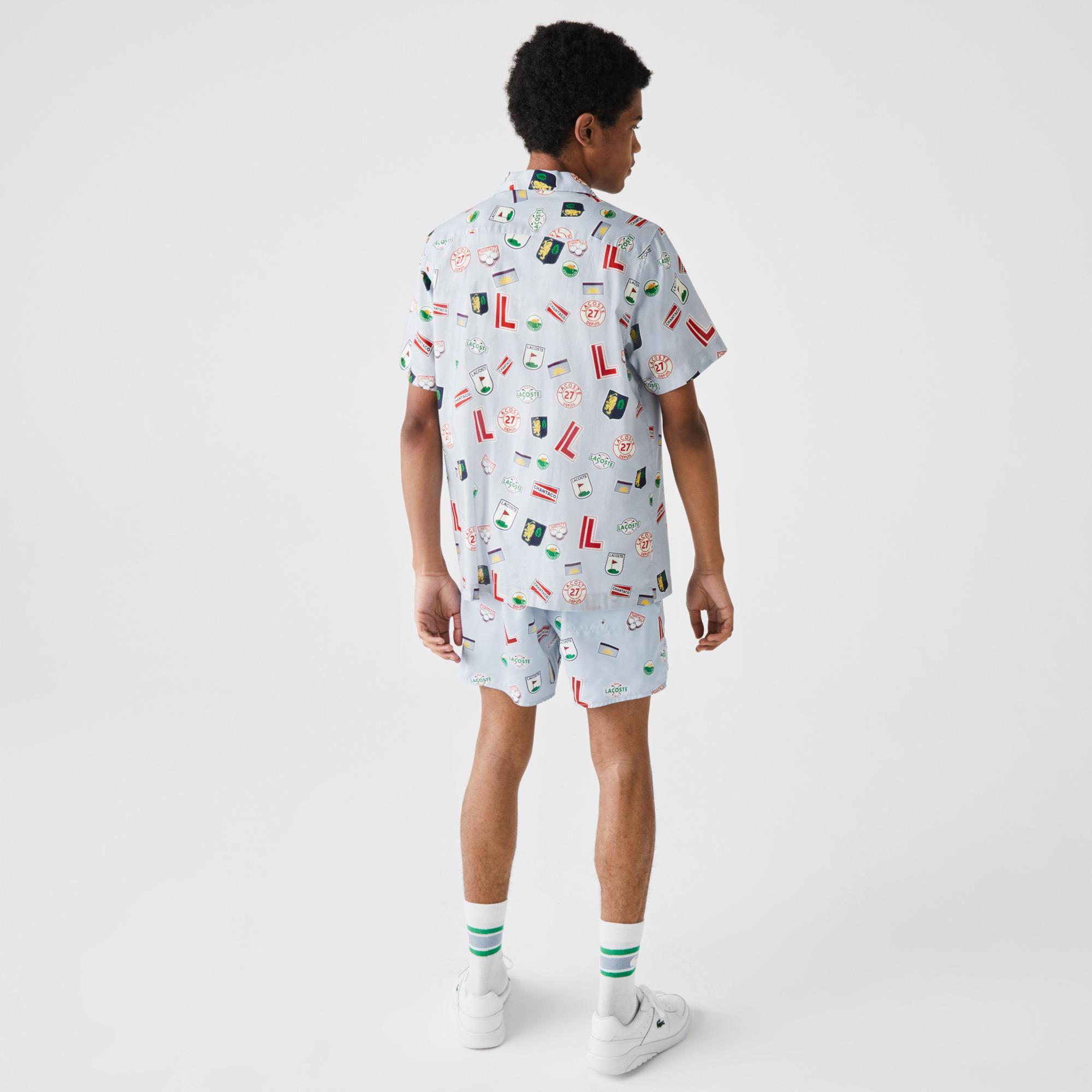 Lacoste Męska koszula bawełniana z hawajskim nadrukiem