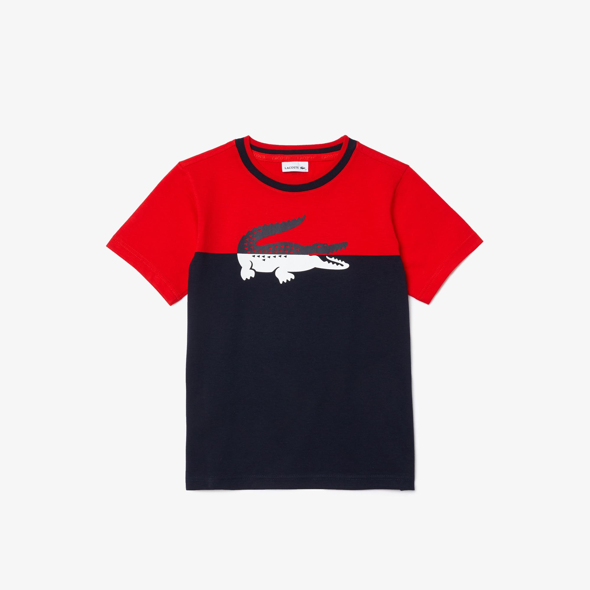 Lacoste Chłopięcy bawełniany dwukolorowy T-shirt z okrągłym dekoltem i nadrukiem krokodyla