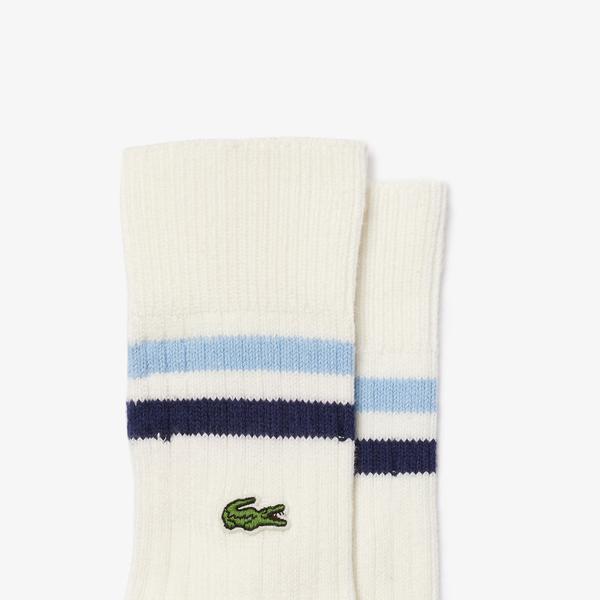 Lacoste Męskie skarpety do kostek w paski z elastycznej bawełny