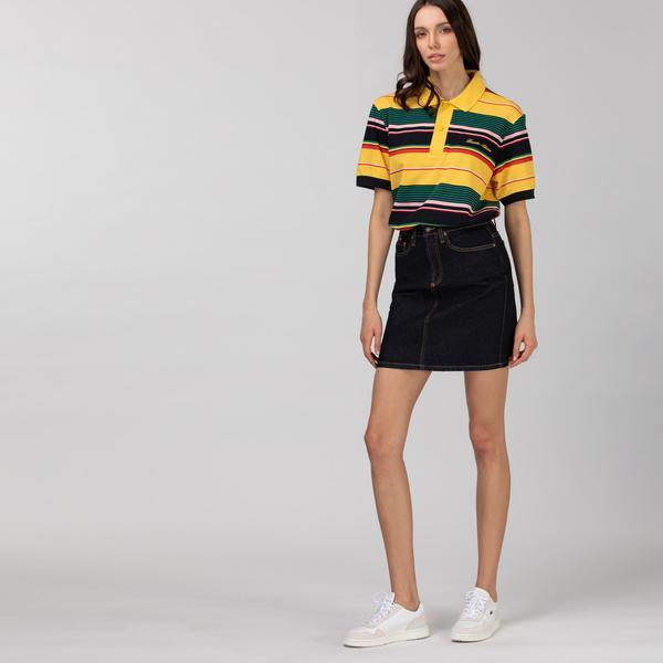 Lacoste L!VE Damska spódnica mini z ciemnego denimu