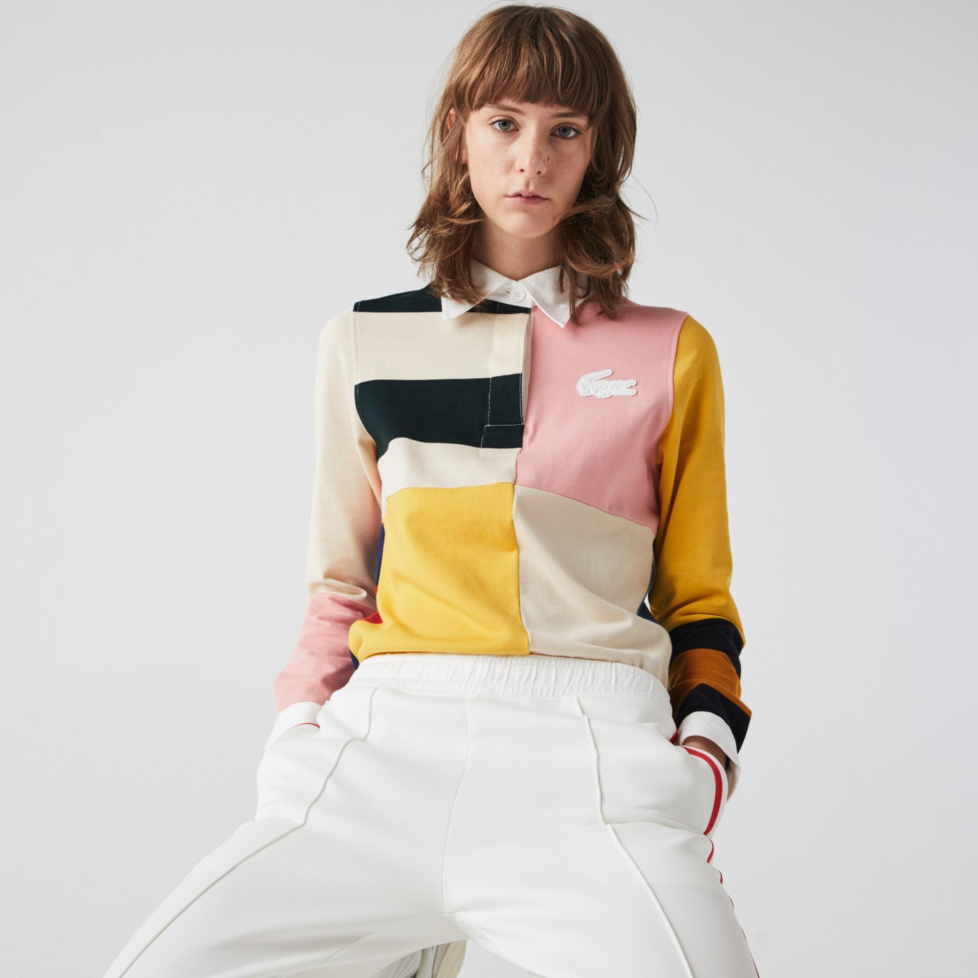 Lacoste L!VE Damska bawełniana koszulka polo w bloki kolorystyczne w stylu rugby