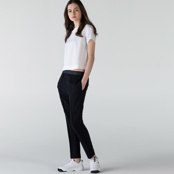 Lacoste Damskie lekkie sportowe miejskie spodnie z mieszanki wełny