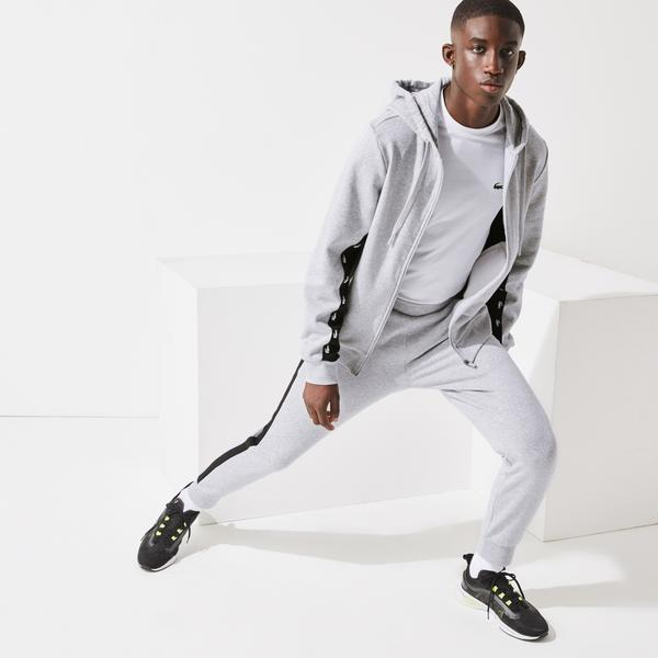 Lacoste męskie spodnie sportowe z polaru z akcentami w kontrastowym kolorze