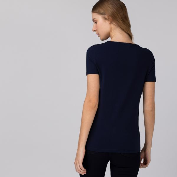 Lacoste Damski T-shirt w paski z okrągłym dekoltem