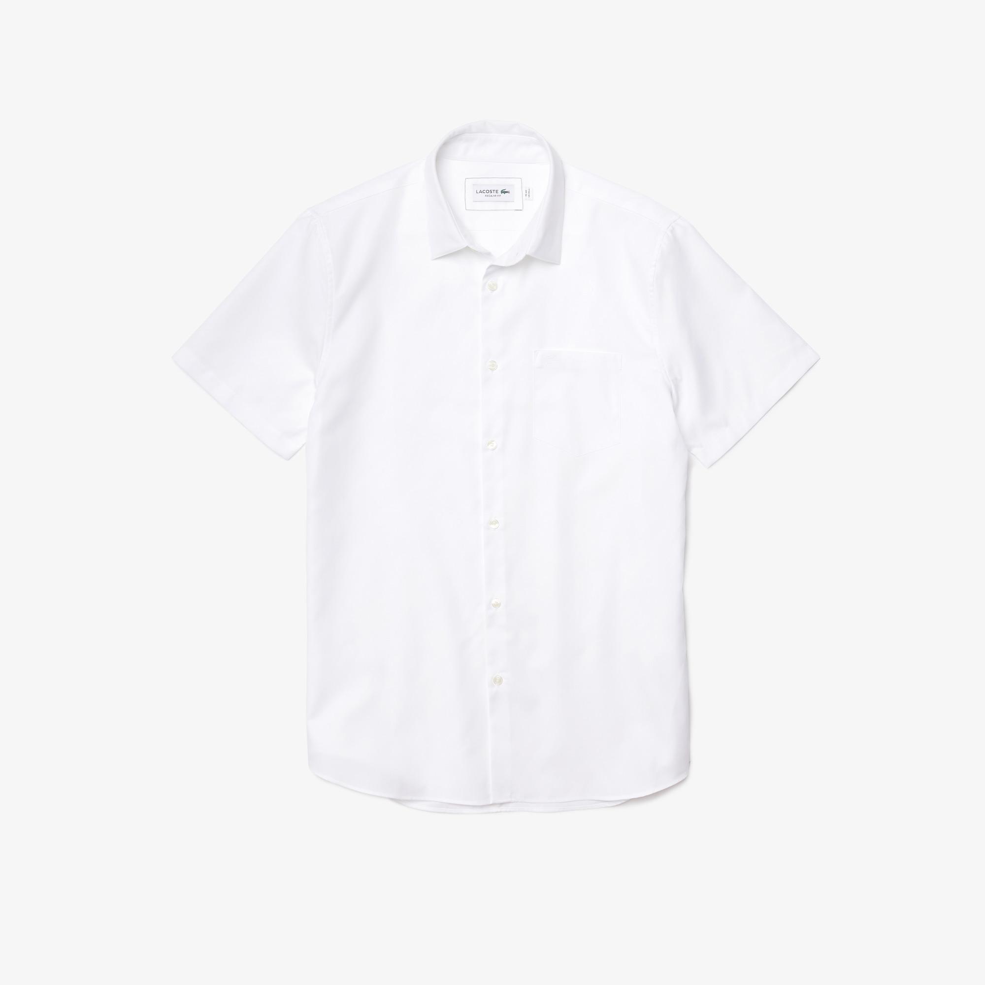 Lacoste Męska koszula Regular Fit z popeliny z piki bawełnianej
