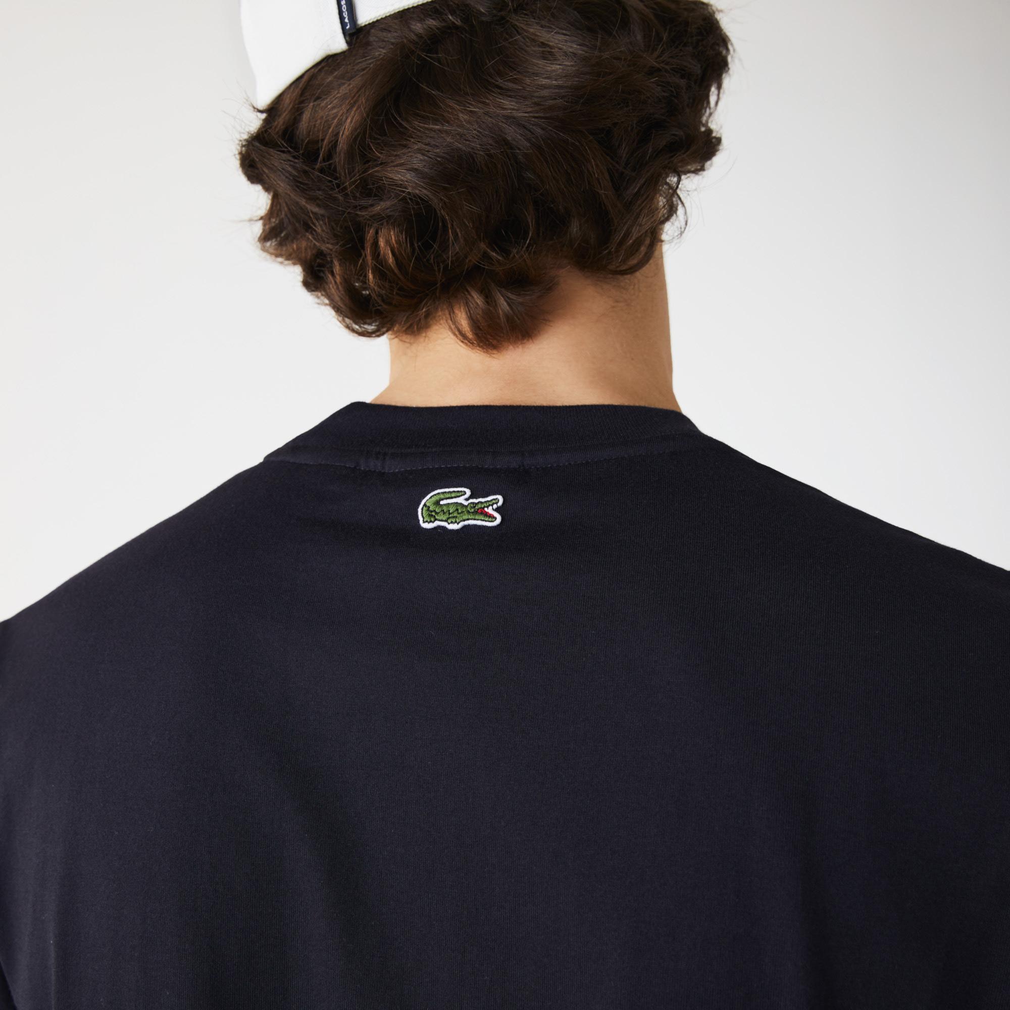 Lacoste Męski bawełniany T-shirt z gumą z paskiem i naszywką