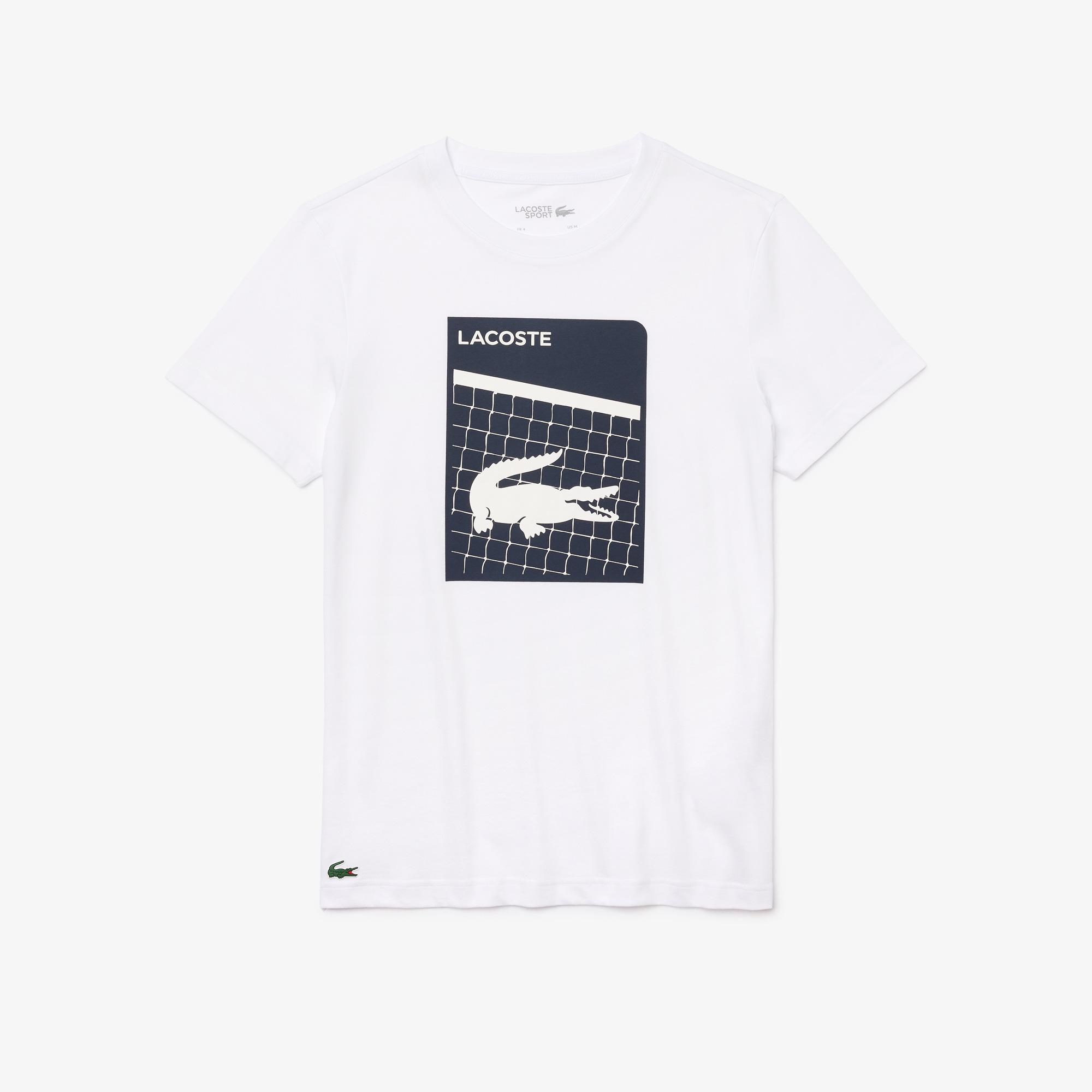 Lacoste SPORT Męski oddychający T-shirt z nadrukiem 3D