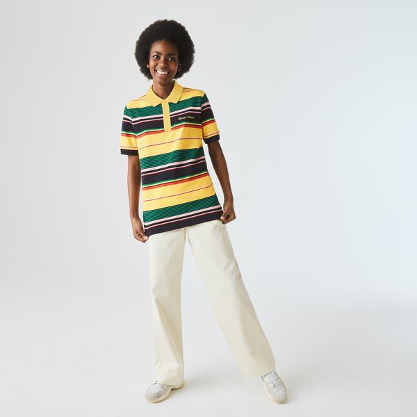 Lacoste L!VE Unisex Embroidered Striped Cotton Piqué Polo