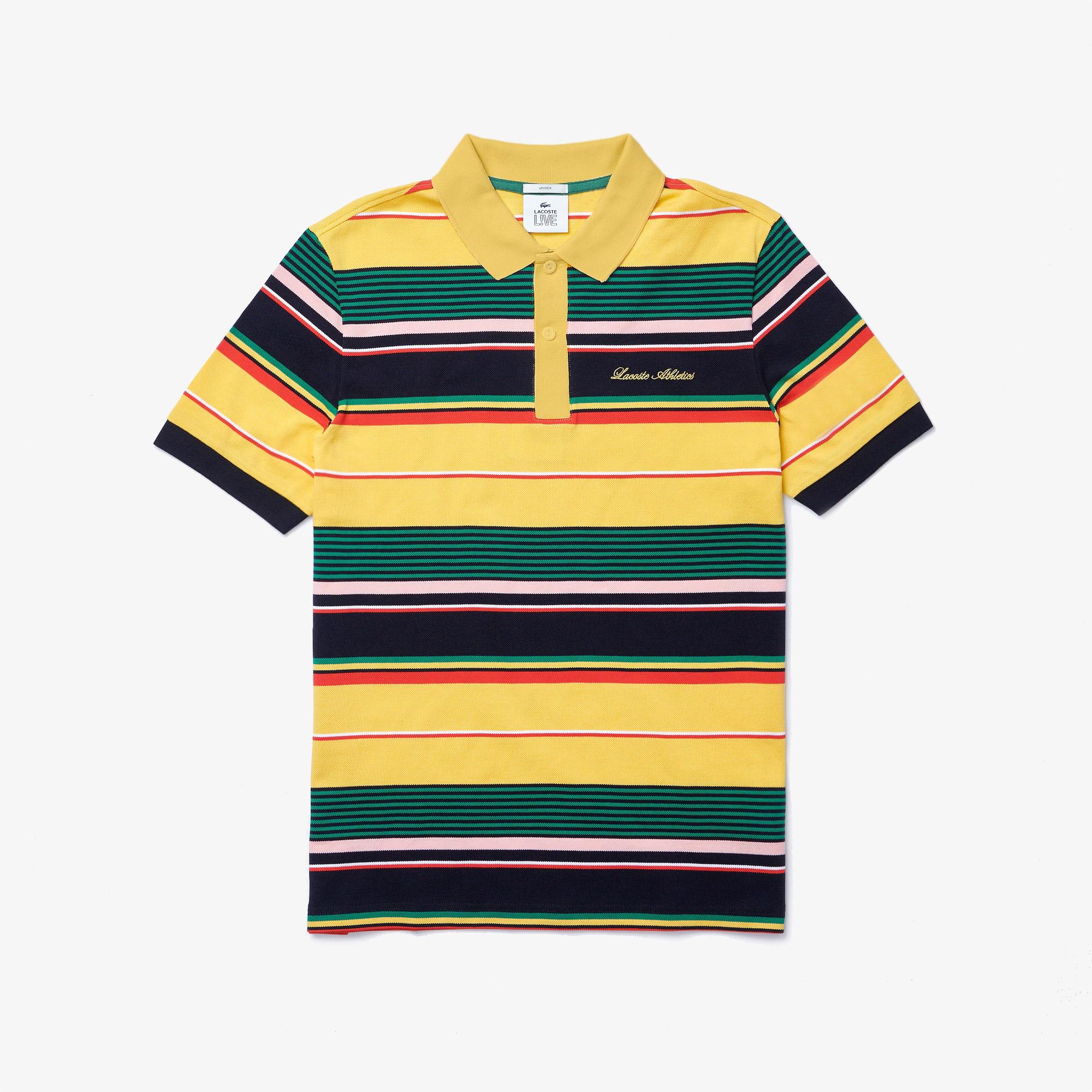 Lacoste L!VE Koszulka polo unisex z piki bawełnianej w paski z haftem