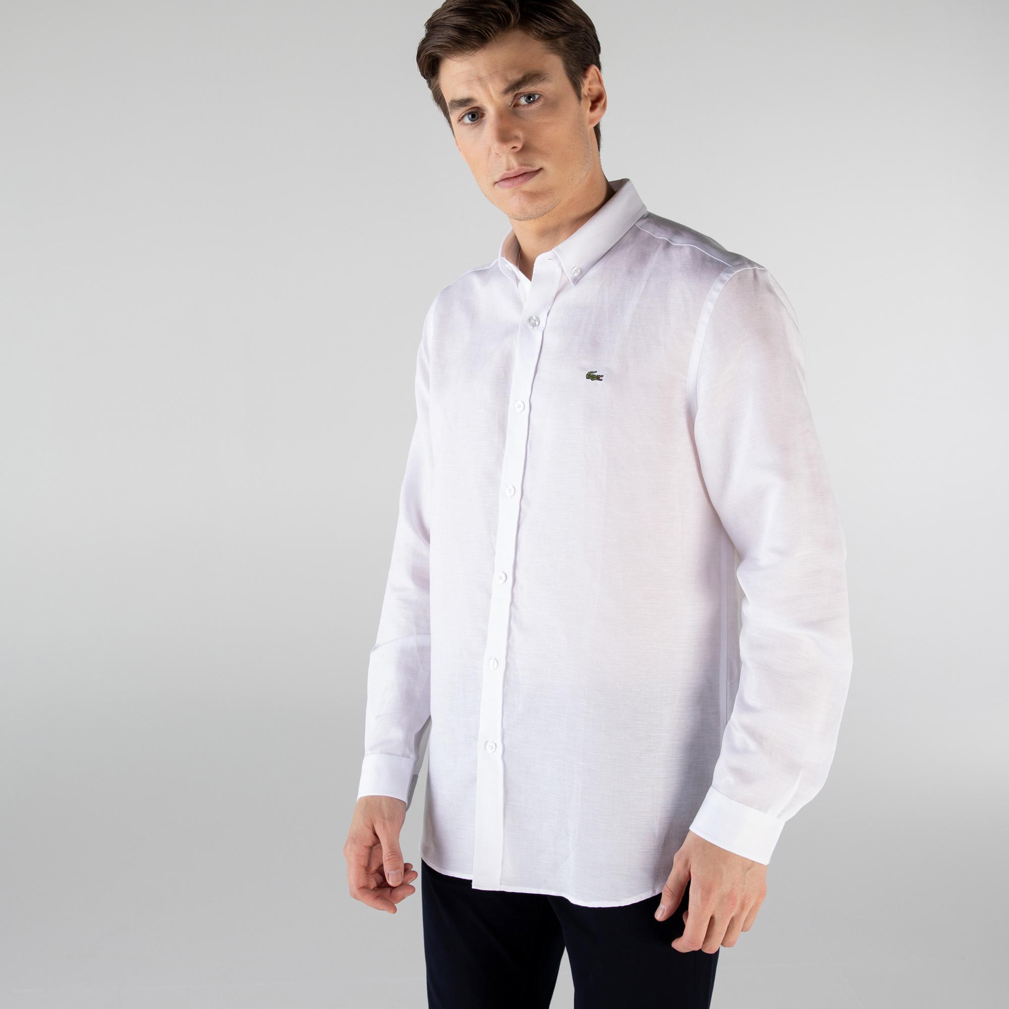 Lacoste Męska tkana koszula z długim rękawem