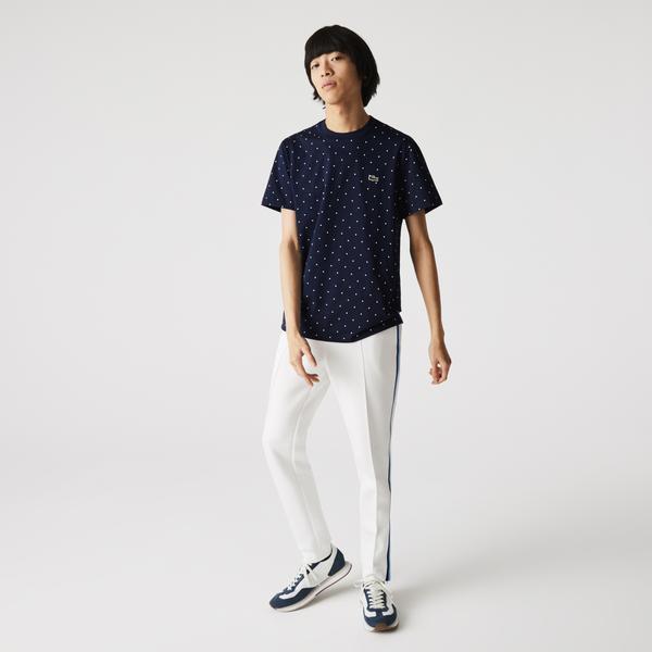 Lacoste Męski bawełniany T-shirt z nadrukowanym wzorem w kropki z okrągłym dekoltem