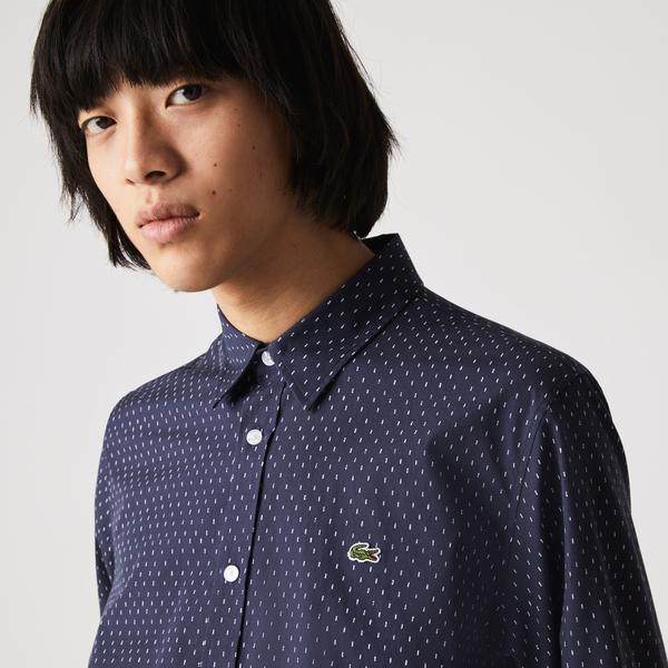 Lacoste Koszula męska z popeliny bawełnianej, z drobnym wzorem, Slim Fit