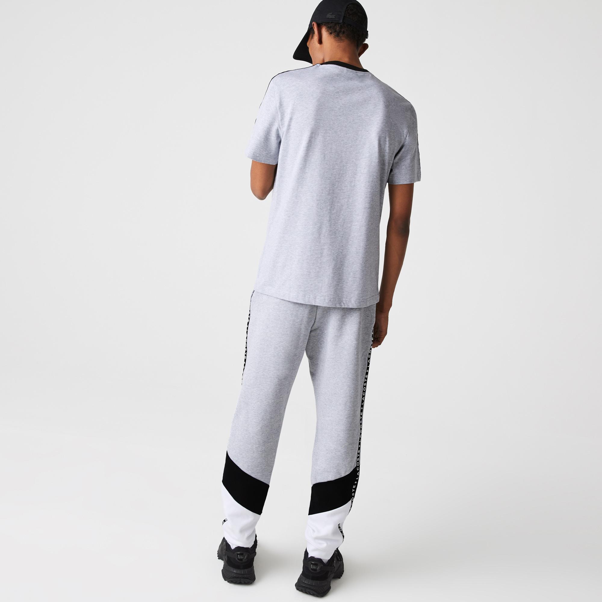 Lacoste T-shirt męski z bawełny, z okrągłym dekoltem, z nadrukiem i w paski