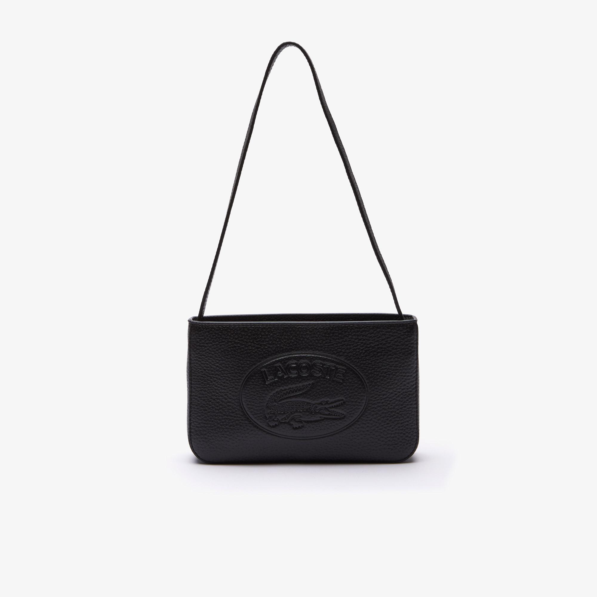 Lacoste Damska torebka baguette bag ze skóry ziarnistej z logo krokodyla