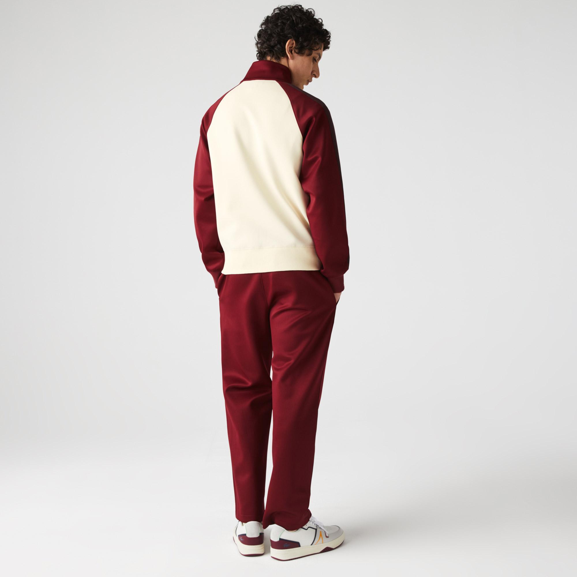 Lacoste Men's Colorblock Zippered High Neck Cotton Blend Sweatshirt