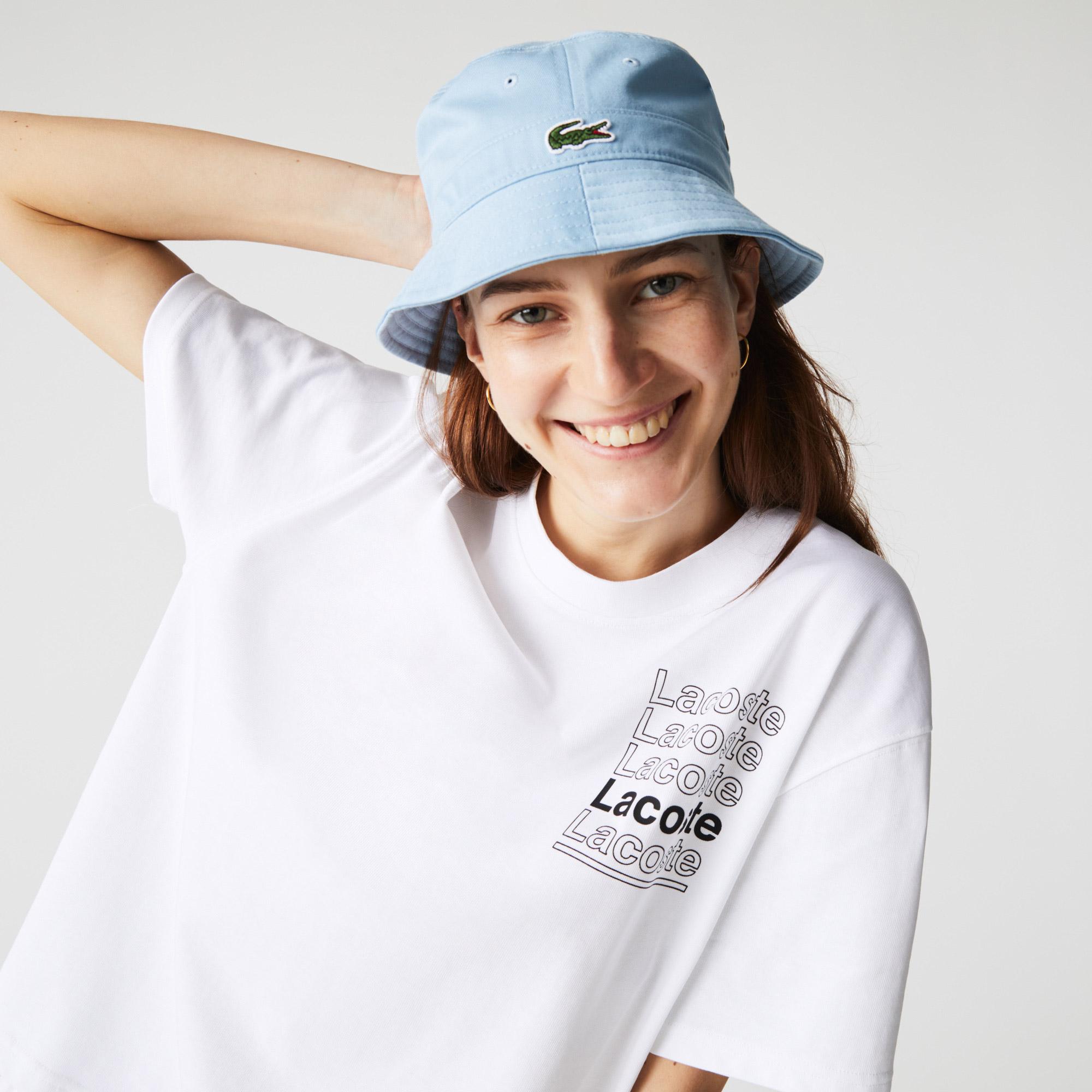 Lacoste L!VE T-shirt damski z bawełny, z okrągłym dekoltem, z nadrukiem