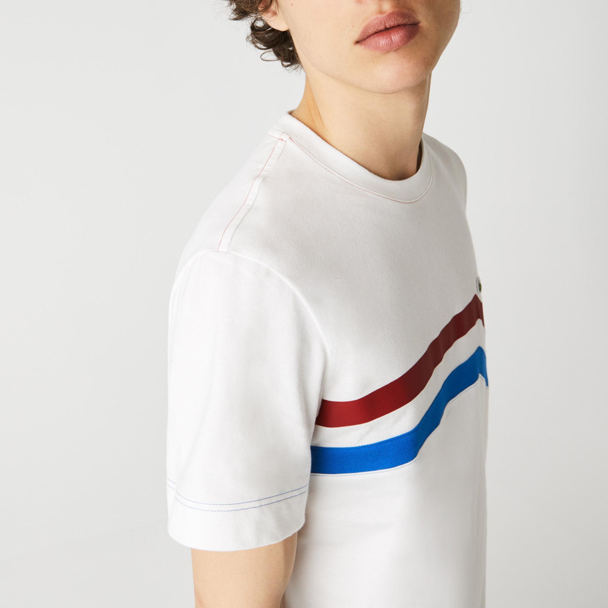 Lacoste Męski T-shirt z bawełny organicznej w paski, Made in France