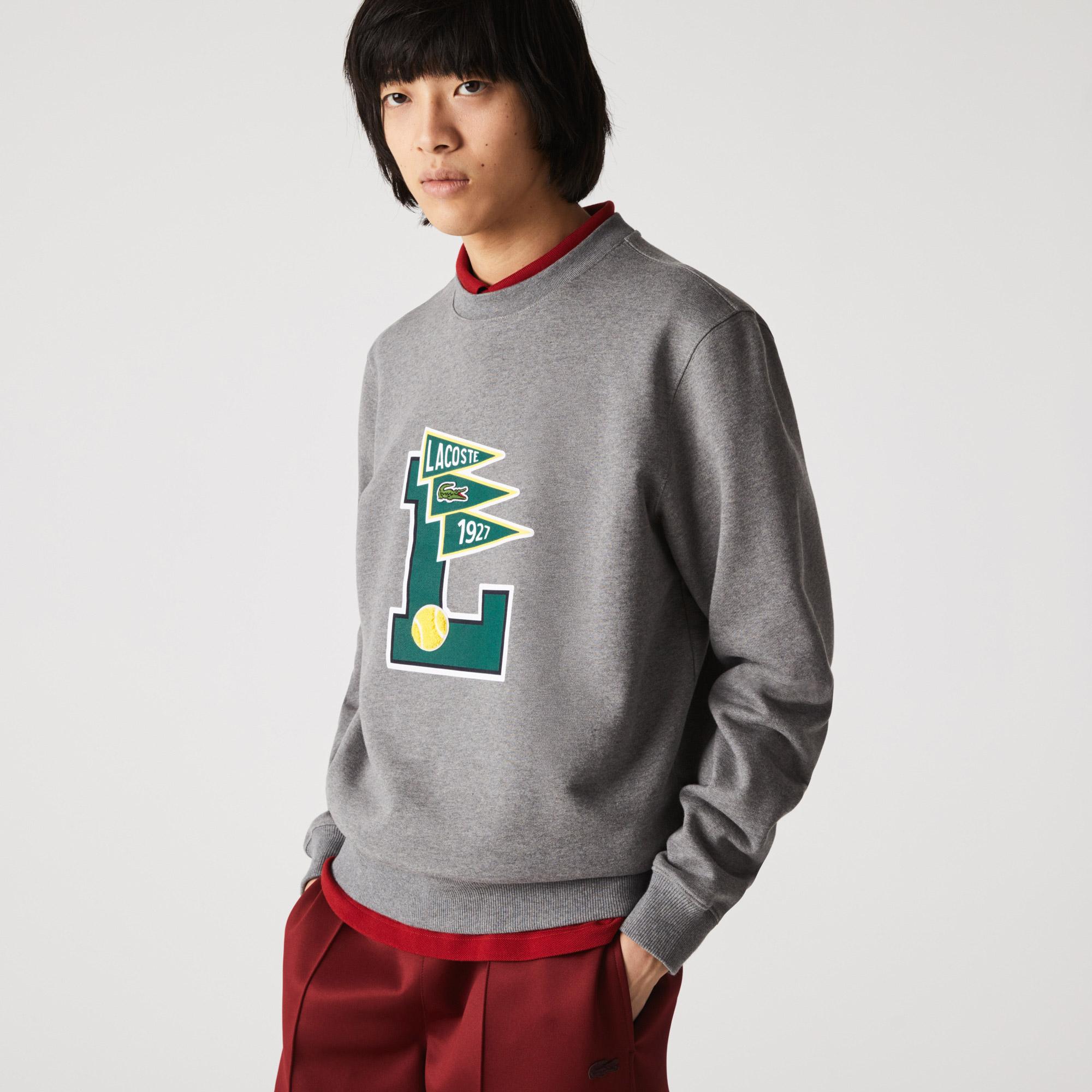Lacoste Męska bluza z polaru bawełnianego, na zamek błyskawiczny, Pennants L Badge