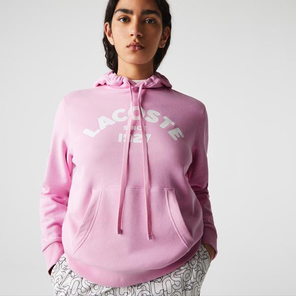 Lacoste Luźna damska bluza polarowa z kapturem, z nadrukiem
